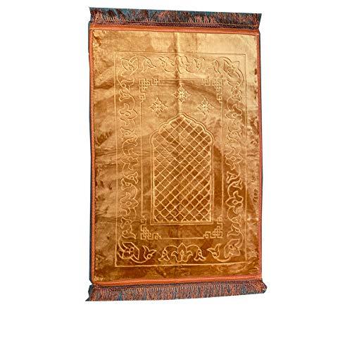 Cushion Padded Muslim Islamic Prayer Mat Namaz Rug (120cm x 80cm) Prayer Mat ,Cushioned Thick salat Namaz Padded Rug (Golden)