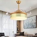 Qinmo Luces de ventilador de techo, lámpara de LED invisible ventilador Luz de 42 pulgadas en la pared luz controlada ventilador, Comer Luz Ventilador Caja de Ahorro de Energía de techo del dormitorio