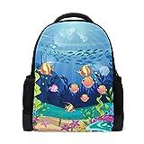 Mochila Mochila Mochila Coral Reef and Fish Impermeable para Viajes intermedios Niñas Niños
