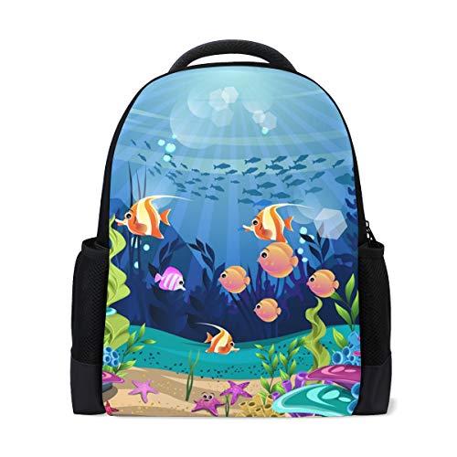 Mochila Mochila Mochila Coral Reef and Fish Impermeable para Viajes...