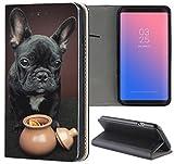 KUMO Hülle für Samsung Galaxy S9 Plus Handyhülle Design 1451 Französische Bulldogge H& Schwarz Welpe aus Kunstleder Schutzhülle Smart Cover Klapphülle Handy Hülle Hülle für Samsung Galaxy S9 Plus