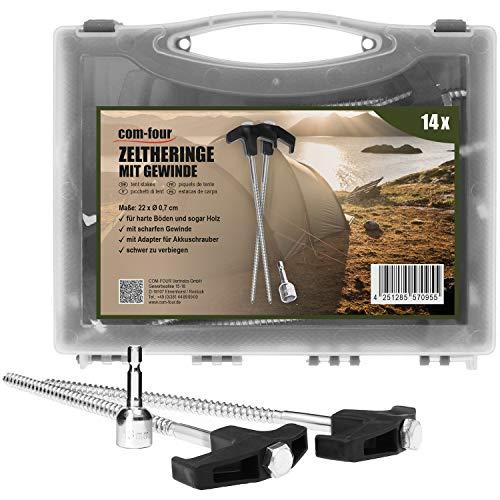 com-four® 14x Zelt-Heringe aus Stahl mit Adapter für Akkuschrauber - Schraubheringe im Koffer - robuste Erdnägel mit Gewinde für Camping und Outdoor - Zeltpflöcke ideal für harten Boden