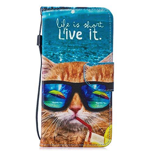 Carols Coque Samsung Galaxy J3 2017 (SM-J330), 3D PU Cuir Flip Housse Étui Cover Wallet Case avec Supporter Fermeture Aimantée pour Samsung Galaxy J3 2017 (SM-J330) - Chat