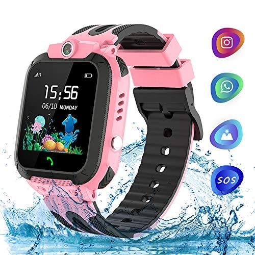 Kinder Uhr Kids Smart Watch, TLLAYGM Wasserdicht Kinder Smartwatch Kinderuhren Telefon Uhr Uhren für Kinder Armbanduhr Geschenk Jungen Mädchen Pink