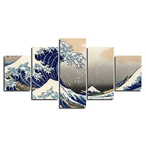 FFFZDCKAY Cuadro en Lienzo 5 Partes Obra de Arte Pintura Katsushika Hokusai Gran Ola de Kanagawa Vistas del Monte Fuji Arte Lienzo Cartel HD Impresión Decoración de la habitación Sin Marco