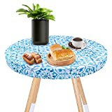 ZIIVARD Small Elastic Fitted Table Cover, 27.5'' Round Tablecloth Waterproof Oil-Proof Outdoor Tablecloth for Round Table 70cm in Diameter (Green)