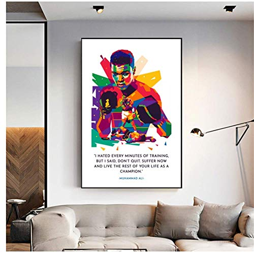 wzgsffs El legendario Muhammad Ali Boxing Star Poster Painting Art Poster Print Canvas Decoración para el hogar Picture Wall Print-20X30 Inch Frameless