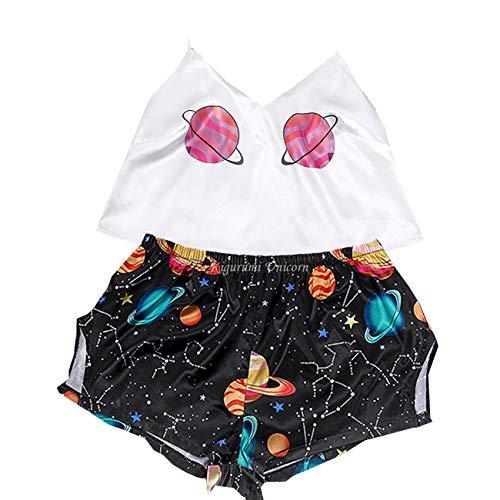 WAEKQIANG Sexy Ropa Interior De Las Mujeres Pijamas De Las SeñOras Pijamas De SatéN Lindo Bordado De Dibujos Animados Impreso con Cuello En V Pijamas Conjunto De Pantalones Cortos