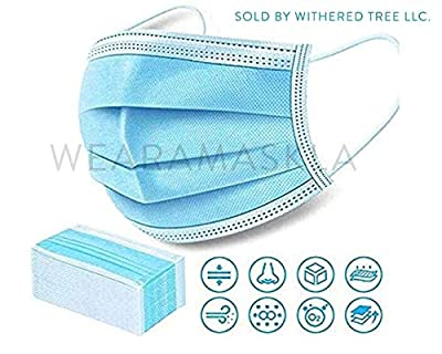 Disposable Face Mask - Pack of 50 Single Use Protective Masks With 3 Ply Layers of Shielding, Ear Loop Style from wearamaskLA