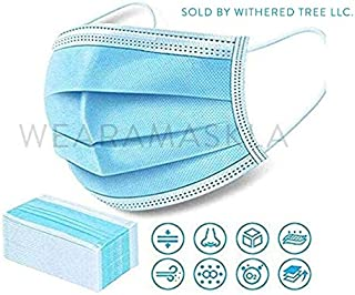Disposable Face Mask - Pack of 50 Single Use Protective Masks With 3 Ply Layers of Shielding, Ear Loop Style