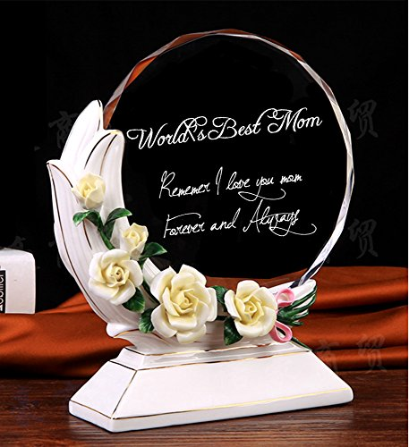 QTMY Crystal Magnolia World's Best Mom Trophy Award Remember I Love You Mom Forever and Always