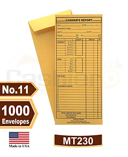 1000 Cashier Depot MT230 Cashier's Report Envelope, 4 1/2