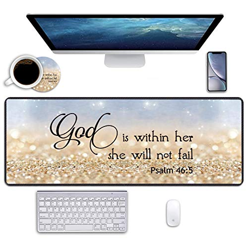 Desk Pad Mat Gaming Mouse Pads with Coasters, 31.5' ×11.8' Large XXL Non-Slip Rubber Base Mousepad with Stitched Edges for Work & Gaming, Office & Home (Rainbow Glitter Quote Bible Verse Psalm 46:5)