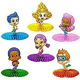 CYSJ Bubble Guppies Globos Pancarta de Feliz Cumpleaños Adornos para Pastel de Juegos para Niños Adultos Decoraciones de Fiesta de Cumpleaños Suministros Decoración Kids Gift