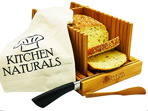 Premium Bamboo Foldable Bread Slicer – Built in Crumb Catcher and Knife Rest |Bread Slicing Guide, Bread Loaf Slicer– BONUS Bamboo Butter Spreader, Storage Bag and Guide Book.