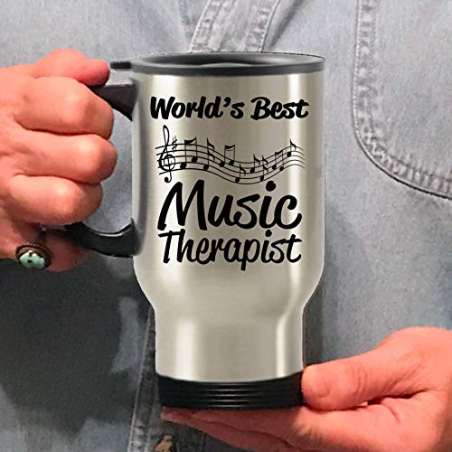 Music Therapist Worlds Best Stainless Steel Travel Mug Gift keep warm Storage Thermoses Steel Insulated Tumbler Outdoor Recreation hiking Sports Water Bottles