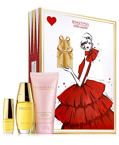 Estee Lauder Beautiful To Go Set includes: Eau de parfum spray (1 oz.) Perfumed body lotion (2.5 oz.) Eau de parfum purse spray (0.16 oz.)