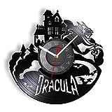 Reloj de Pared de Vinilo Grabado con láser de Castillo de Drácula de Halloween, murciélago Vampiro gótico, luz LED Retro, Reloj de Registro de Vinilo, luz Nocturna