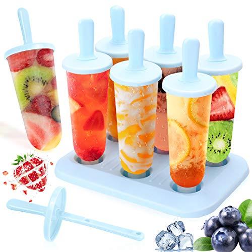 Eisform Eis am Stiel Formen, 6 Eisformen Silikon Bpa Frei, DIY Ice Pop Lolly Popsicle Eisförmchen Wiederverwendbar Popsicle Sticks LFGB Geprüft für Kinder, Baby, Blau