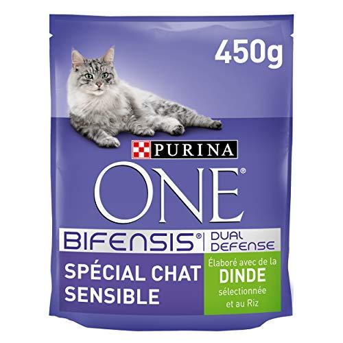 Purina One Sensitive Cat - Cibo pro Gatti mit Tacchino und Riso, 450 g, Packung mit 10 Stück