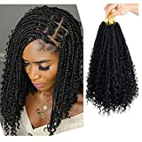 7 Packs Crochet Box Braids Hair with Curly Ends 12 inch Goddess Box Braids Crochet Hair 3X Bohemian Braiding Hair for Black Women(12 Inch, 1B)