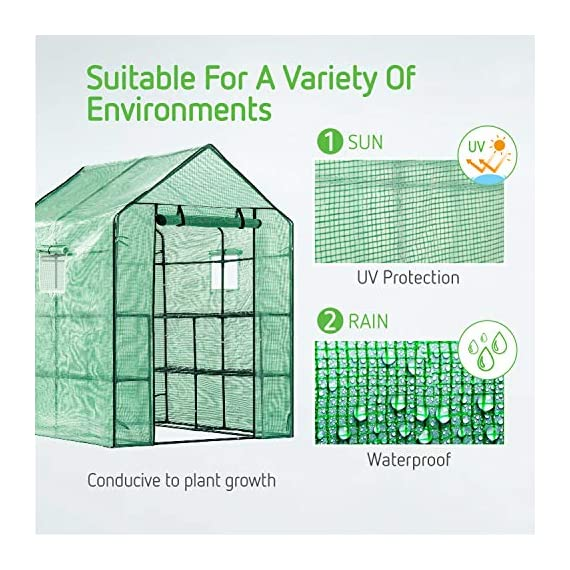 Vivosun 57x57x77-inch mini walk in green house with window and anchor plant garden hot house 2 tiers 8 shelves 4 multi-shelves, large space- crafted with 8 wired shelves, overall dimension:57x57x77-inch, our vivosun green house is large enough for starting seed, sprouting young plants, blooming flowers and cultivating fresh vegetables; 3 tiers and different height between each shelf provide a possibility to grow both small and large plants side by side roll-up entrance & windows- zippered roll-up entrance at the front provides an easily access to the greenhouse and a bigger operating space; 2 side windows bring a better air circulation of the green house, even if in hot weather, your lovely plants can breath fresh air; and the custom meshes on the window effectively isolate the pests from harming plants high-quality & long life time pe cover- our vivosun greenhouse is double-stranded edge banding, making the cover more tough and more durable; thanks to the anti-cold agent added in the cover, its lifetime is 3 months more than usual cover; in addition, our high-quality pe cover can prevent the harm from uv and bad weather but offering the best solar performance, which will nourish your plants very well