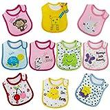 FUTURE FOUNDER Baby Lätzchen Wasserdicht Weich 10er Halstücher mit süßen Motiven aus Baumwolle mit Klettverschluss für Baby Mädchen Kleinkinder (Mädchen)