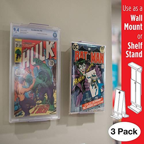 Comic Mount Soporte para Estantería de Cómics y Montaje en Pared, Invisible y Ajustable, Paquete de 3