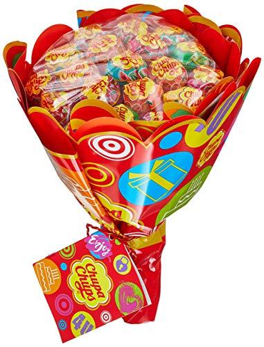 Chupa Chups Lutscher Blumenstrauss, Geschenk-Idee: Geburtstag + Jahrestag + Valentinstag, 6 fruchtige Lolli-Sorten