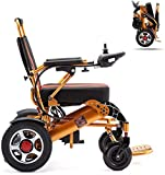 GYPPG Folding Electric Wheelchair Lightweight Wheelchair All Terrain Power Scooter Dual Motor Power Chair 12A...
