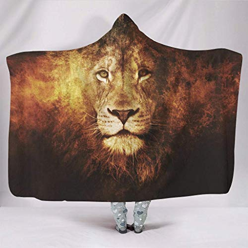 JONINOT Manta Siesta Felpa Sofás Hooded Cara de león de Fuego Rey de los Animales W102cmXL127cm Buen sueño