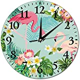 sam-shop Relojes de Pared Reloj de Pared de Vidrio Redondo de Planta de Flamenco Tropical, Relojes de decoración de Pared