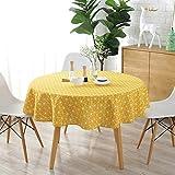 WolinTek Manteles Mantel Redonda Cubierta de Mesa de Lino de algodón Redondo Manteles de Sarga Simples Adecuado para Buffet, Boda, Restaurante, Fiesta,(150cm de diámetro) (Amarillo)