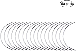 Pincute 50 Pcs Weaving Needle, Hair Weave Needle, C Curved Weaving Needle, Wig Making Pins Needles Set for Wig Making, Blocking Knitting, Modelling and Crafts