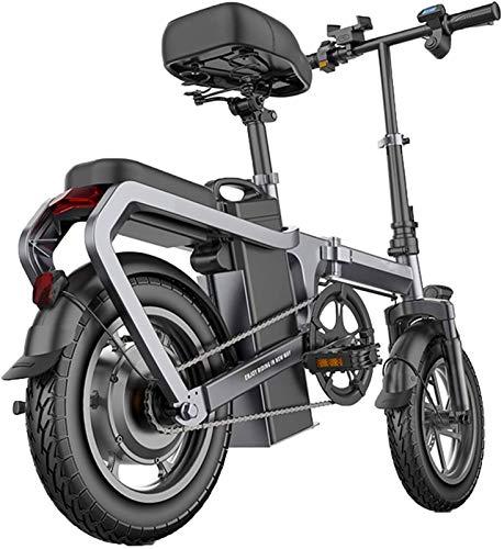 Bicicleta de montaña eléctrica, 14 Bicicletas En plegable unisex Eléctrica en aleación de aluminio con 400W 48V de iones de litio Mini bicicleta eléctrica con Smart LCD Contador y sistema de recuperac