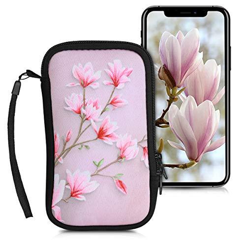 kwmobile Custodia in neoprene con zip per smartphone L - 6,5  - Astuccio portacellulare a sacchetto con cerniera - Borsa verticale - Magnolie rosa bianco rosa antico