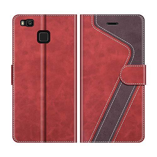 MOBESV Handyhülle für Huawei P9 Lite Hülle Leder, Huawei P9 Lite Klapphülle Handytasche Hülle für Huawei P9 Lite Handy Hüllen, Modisch Rot
