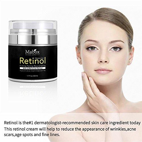 La Crema Facial Hidratante MABOX, Fórmula Antienvejecimiento Pawaca Reduce las Arrugas y Líneas Finas Crema de Retinol con Vitamina A D E, con 2.5 de Retinol Activo, Ácido Hialurónico