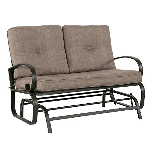 Handman Outdoor Glider Bench Outdoor Swing Loveseat Patio Rocking Bench Outdoor Glider Swing Outdoor Loveseat Glider with Cushions for 2 Person (Gradient Brown)