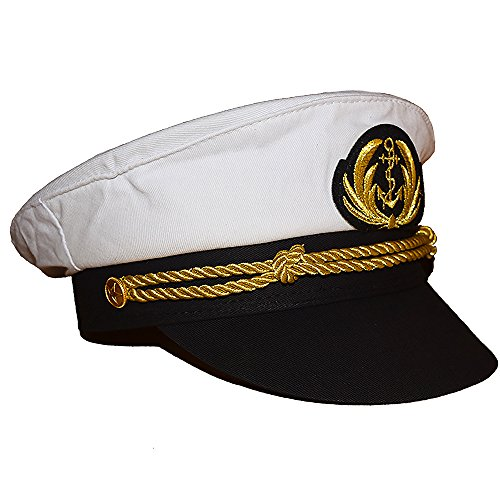 Chiclinco Admiral Captain Yacht Hat with Adjustable Snapback & Gold Embroidery Anchor Skippers Cap for Club Pub Party Costume Accessory (White 1)