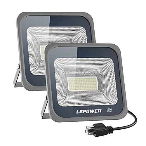 LEPOWER 2 Pack 100W LED Flood Light, 10000lm Work Light with Plug, Equiv 500W Halogen, 6000K White Light, IP66 Waterproof Outdoor Floodlight for Garage, Garden, Lawn, Basketball Court, Playground