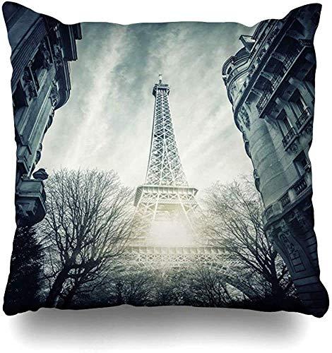 Doble Cojines Fundas 18' Hierro Francia Vista Torre Eiffel París Parques Arco Atracción Arco Capital Funda de Almohada Suave para la Piel