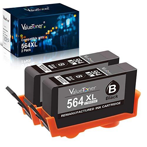 Valuetoner Remanufactured Ink Cartridge Replacement for HP 564XL 564 XL CN684WN for Officejet 4620, Photosmart 7510 5520 5515 5510 B8550, Premium C410 C309A, Deskjet 3520 3522 (Black, 2 Pack)