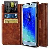 Wallet Case for Galaxy J7 2018/J7 Refine/J7 Star/J7 Crown/J7 Aura/J7 V 2nd Gen, OTOONE [Flip Folio] PU Leather Wallet Card Slot Protective Phone Cover with Kickstand for Samsung J7 (Bronze)