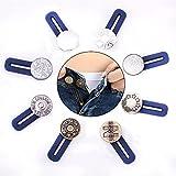 AXEN 8 pezzi estensori per vita con bottoni, elastico in acciaio inox, per jeans, pantaloni, camicie, colletti, 3,6 cm