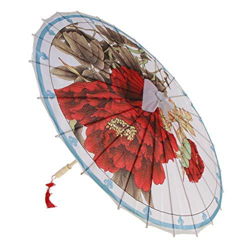 Fenteer Sombrilla De Paraguas De Bambú Japonés Chino Patrón De Flor Diámetro 80cm - G