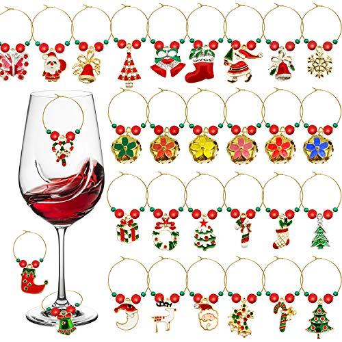 iZoeL Glasmarkierer Weinglas Charms Weihnachten Anhänger 30Stk Glassmarker wiederverwendbare Champagner Glas Dekoration