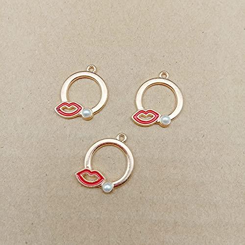 LLBBSS 10 Unids 21X17 Mm Hecho A Mano De Metal Esmalte Perla Labio Boca Encantos Pulsera De Oro Colgantes para La Fabricación De Pendientes De Collar