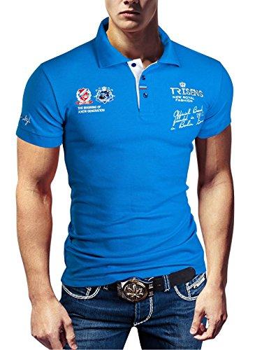 Polo New Poloshirt T-Shirt Shirt Hemd Party Slim Herren Kurzarm Pique Wow, Farbe:Blau, Größe:XXL