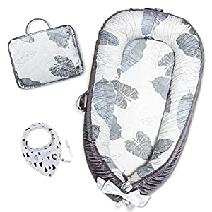 HONGTEYA Baby Lounger Baby Nest Newborn Lounger for Co Sleeping Portable Bassinet Mattress Baby Snuggle Nest Soft Adjustable Crib 100% Breathable Cotton Infant Lounger for 0-18 Months Gift(eleaf)